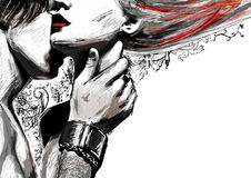Een mens die een meisje in haar breekbare hals kussen Stock Foto