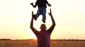 Een mens die met een kind in de zonsondergang spelen, die het omhoog werpen Het concept een gelukkige familie, vader-zoon verhoud stock videobeelden