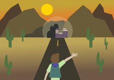 Een mens die naar woestijnstad reizen Stock Foto