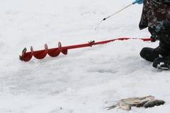 Een de winter visserij Royalty-vrije Stock Afbeeldingen
