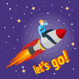 Een mens die op een raket en blikken door verrekijkers vliegen Royalty-vrije Stock Foto