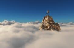 Een mens die zich op een steenklip bevinden Royalty-vrije Stock Afbeelding