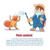Een mens doodt een insect door chemisch product Stock Afbeeldingen
