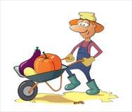 Een mens draagt groenten in een kruiwagen Stock Afbeelding