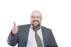 Een mens in een jasje toont gebaar stock afbeelding