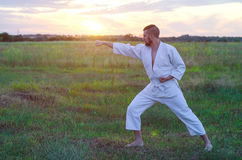 Een mens in een kimono leidt karate in aard, een mooie op zonsondergang stock foto