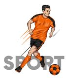 Een mens in eenvormige voetbal en met een bal voetballer sporten en gezondheid Vectorillustratie voor prentbriefkaar of affiche,  royalty-vrije stock afbeeldingen