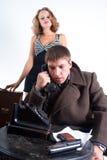 Een mens en een telefoon Royalty-vrije Stock Foto