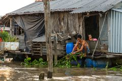 Een mens en een kind bij hun huis op de Mekong rivier kunnen binnen Tho, V Stock Foto