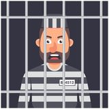 Een Mens in Gevangenis gestreepte gevangenevorm Mens achter staven royalty-vrije illustratie