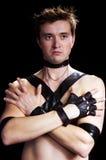 Een mens in handschoen stock afbeelding