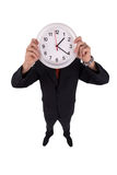 Een mens houdt een klok Royalty-vrije Stock Foto