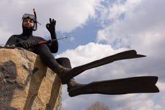 Een mens kleedde zich als onderwaterjager royalty-vrije stock foto's