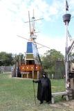 Een mens kleedde zich in middeleeuws kostuum Royalty-vrije Stock Foto