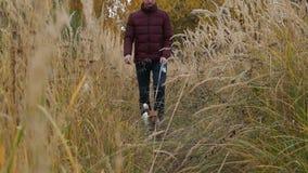 Een Mens loopt met hond stock videobeelden