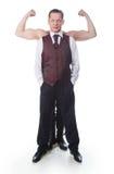 Een mens met bicepsen Stock Foto