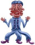 Een mens met drie gezichten en drie benen Stock Foto's