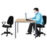 Een mens met een computer Royalty-vrije Stock Fotografie