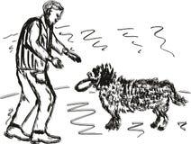 Een mens met een hond Royalty-vrije Illustratie