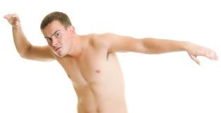 Een mens met een naakt torso. royalty-vrije stock afbeeldingen