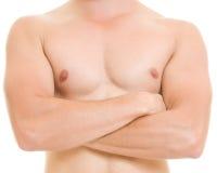 Een mens met een naakt torso. stock foto's