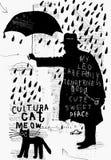 Een mens met een paraplu royalty-vrije illustratie
