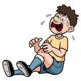 Een mens met een pijnlijke beenverwonding Stock Foto's