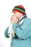 Een mens met een zakdoek. stock afbeeldingen