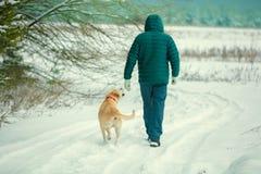 Een mens met een hond loopt langs de weg die met sneeuw wordt behandeld stock fotografie