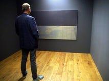 Een mens met verbazing bekijkt abstracte kunst Marc Rotkho Royalty-vrije Stock Foto's