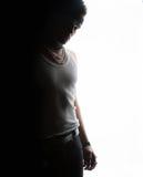 Een mens op de rand van zwart-wit Stock Foto's
