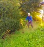 Een mens in overall maait het gras met een grasmaaimachine stock fotografie