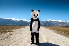 Een mens in een pandakostuum wacht op een lege weg tegen een achtergrond van bergen Bulgarije, Bansko - 2015 Stock Fotografie