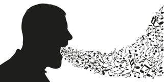 Een mens in profiel wordt gezien opent zijn mond om nota's van muziek uit te laten die royalty-vrije illustratie