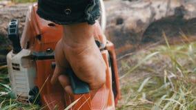 Een mens snijdt overal droge boomboomstammen met kettingzaag, zaagselvlieg stock video