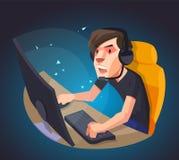 Een mens speelt het computerspel Stock Foto