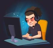 Een mens speelt het computerspel, Vectorillustratie Royalty-vrije Stock Afbeelding