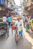 Een mens vervoerden groenten met een cyclusriksja in Delhi, India stock afbeeldingen