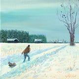 Een mens vervoert een kind op een slee Verse diepe sneeuw Stock Foto's