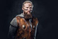 Een mens Viking kleedde zich in Noords pantser royalty-vrije stock afbeelding