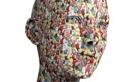een menselijk hoofd dat uit pillen wordt gemaakt Stock Fotografie