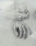 Een met de hand gemaakte tekening van handen stock illustratie