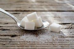 Een metaallepel van suiker en kubussuiker royalty-vrije stock afbeeldingen