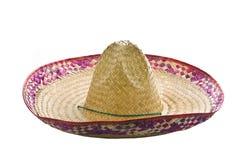 Een Mexicaanse sombrero die op een witte achtergrond wordt geïsoleerdd Stock Fotografie
