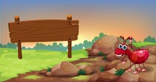 Een mier bij de rotsachtige weg met lege signage Royalty-vrije Stock Foto's