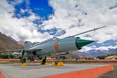 Een mig-21 die vechtersvliegtuig door India in Kargil-oorlogs 1999 Verrichting Vijay wordt gebruikt Stock Foto's