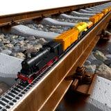 Een miniatuurmodel van de trein berijdt op groot spoor Stock Foto's