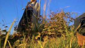 Een model in een laag in een park onderzoekt in de herfst droog wild gras en spreekt aan een fotograaf stock footage