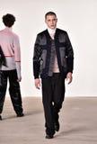Een model loopt de baan bij Tim Coppens-modeshow tijdens de van de de Manierweek van New York Daling van de Mensen/de Winter van  Stock Fotografie