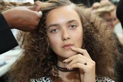 Een model stellende coulisse vóór de Modeshow van Carmen Marc Valvo Spring /Summer 2017 Royalty-vrije Stock Afbeelding